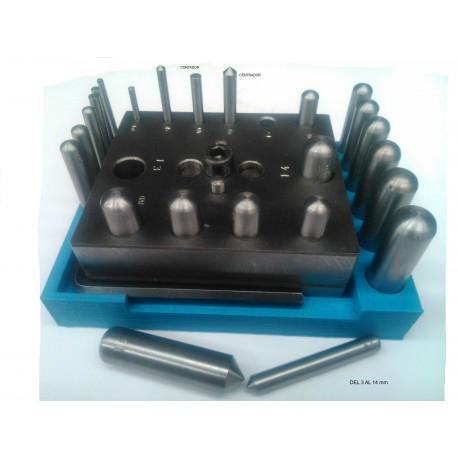 Placa de cortadores con discos y centradores 3 a 14 mm para joyería