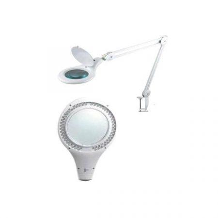 Lámpara lupa 90 leds bifocal sobremesa fabricada por Technoflux para operaciones de precisión en joyería y dental.