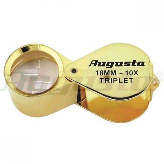 Lupa de Joyero dorada Triplet de 10x. Tamaño bosillo. Barata pero de gran calidad. Marca Augusta.