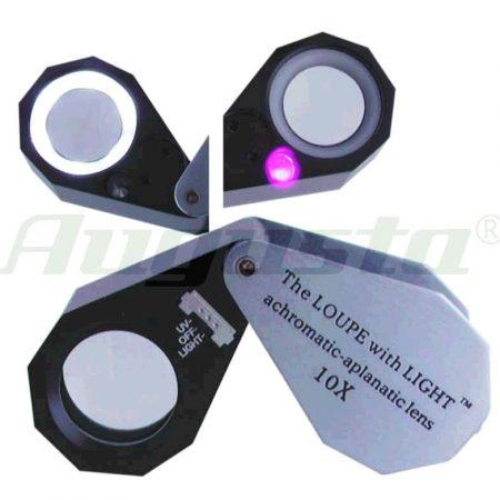Lupa triplet con LED y Ultravioleta para joyero. 10x tamaño bolsillo.