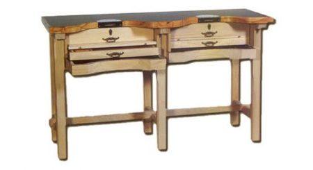 Mesa de trabajo dos puestos de joyero en madera