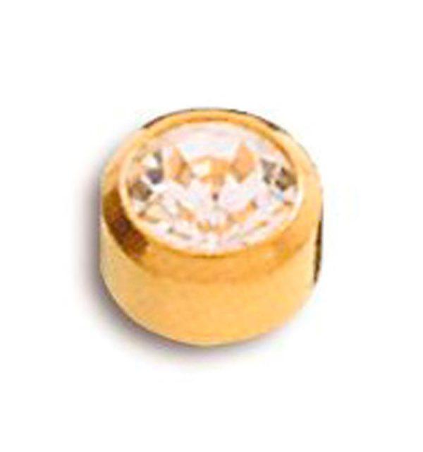 Pendientes de Botón dorado con piedra Caflón para Piercing y Joyería