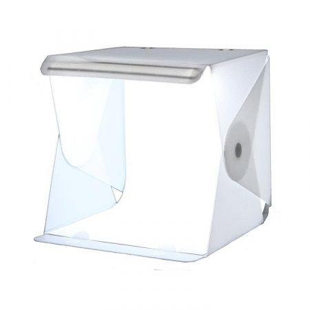 Caja de fotografía plegable para joyas con fondo blanco y led regulable